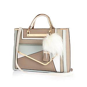 Beige pom pom structured tote handbag