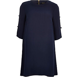 Navy trellis sleeve swing dress