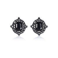 Black stone stud earrings