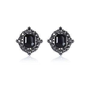 Black stone stud earrings