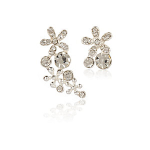 Silver tone flower asymmetric earrings
