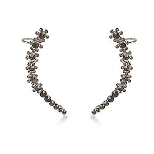 Black gem encrusted ear cuffs