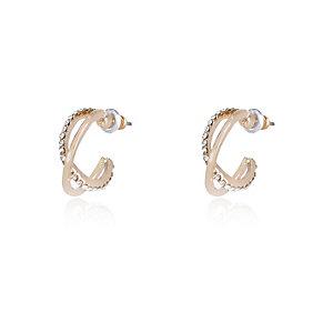 Gold tone twisted embellished hoop earrings