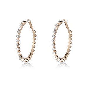 Gold tone diamante encrusted hoop earrings