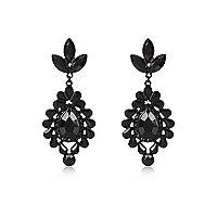 Black teardrop dangle earrings