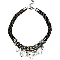 Black chunky rope statement necklace