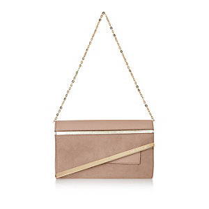 Light beige faux suede asymmetric handbag