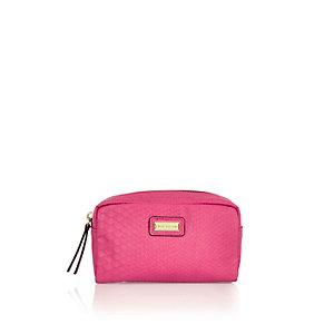 Bright pink snake print make up bag