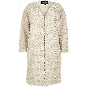 Cream textured wool-blend collarless coat