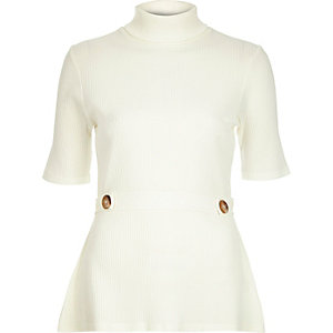 Cream ribbed button roll neck top