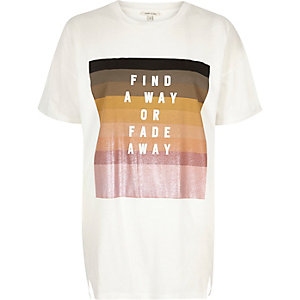 Cream slogan stripe print oversized t-shirt