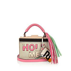 Light grey slogan box handbag
