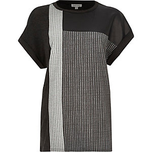 Black colour block ribbed t-shirt
