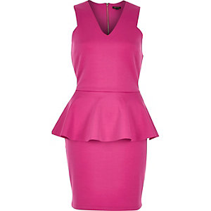 Pink peplum bodycon dress