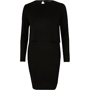 Black double layered bodycon dress