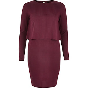 Dark red double layered bodycon dress