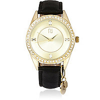 Gold tone embellished black strap watch
