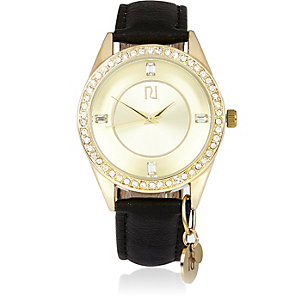 Gold tone embellished black strap watch