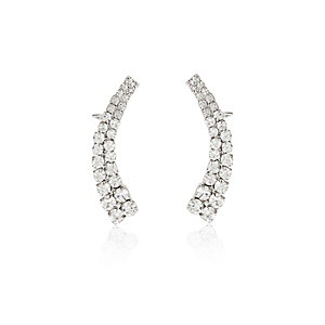 Silver tone diamante ear cuff set
