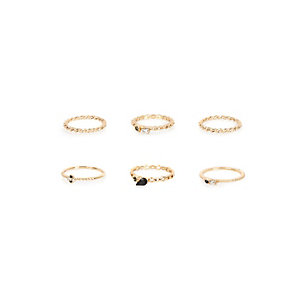 Gold tone delicate rings pack