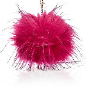 Pink pom pom keyring