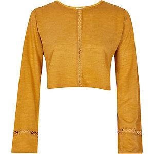 Dark yellow oversized sleeve top