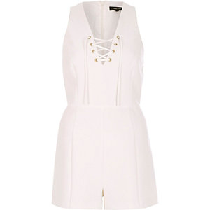 White lace-up playsuit
