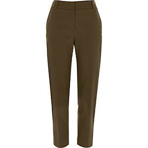 Khaki green smart straight trousers