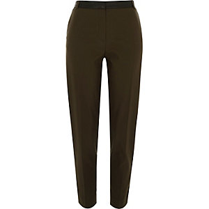 Khaki contrast waist slim trousers