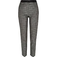 Dark grey contrast waist slim trousers