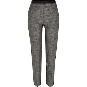 Dark grey contrast waist slim trousers