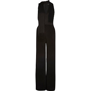 Black scarf neck sleeveless jumpsuit