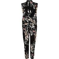 Black floral print smart jumpsuit