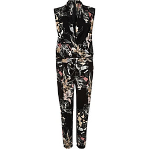 Black floral print smart jumpsuit
