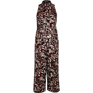 Red metallic jacquard culotte jumpsuit