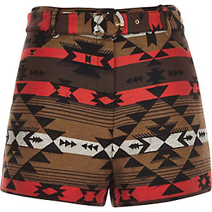 Brown geo jacquard high waisted belted shorts