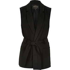 Black pin stripe belted sleeveless jacket