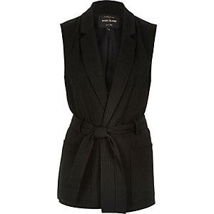 Black pin stripe belted sleeveless jacket