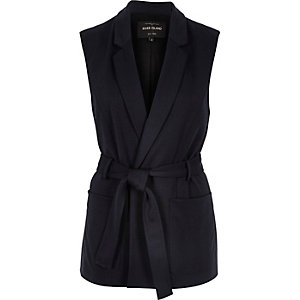 Navy jersey belted sleeveless jacket