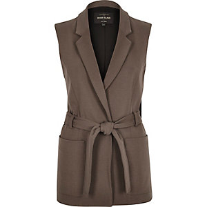 Brown belted sleeveless jacket