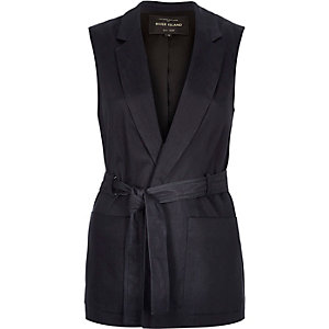 Navy denim sleeveless belted jacket