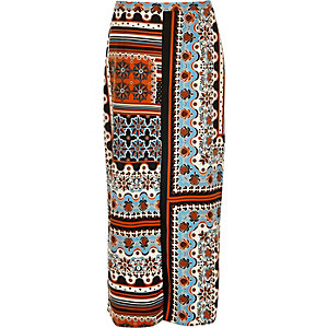 Orange print split front maxi skirt