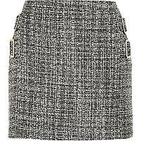 Black boucle buckle mini skirt
