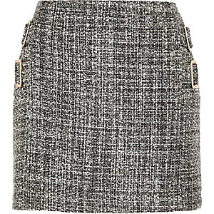 Black boucle buckle mini skirt