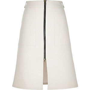 Cream zip-up split front midi skirt