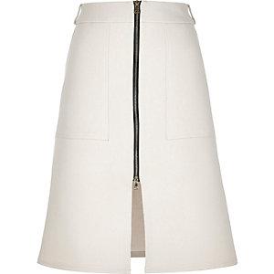 Cream zip-up split front midi skirt
