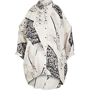 Grey print cold shoulder shirt