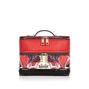 Red floral print vanity case