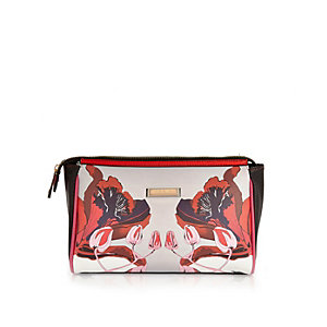Red floral print wash bag