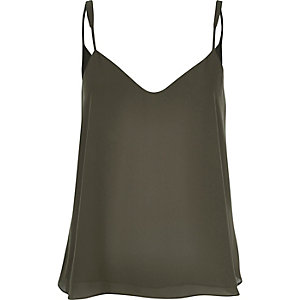 Khaki V-neck cami top